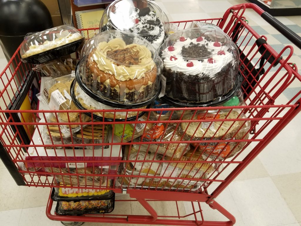 Cakes in shopping cart